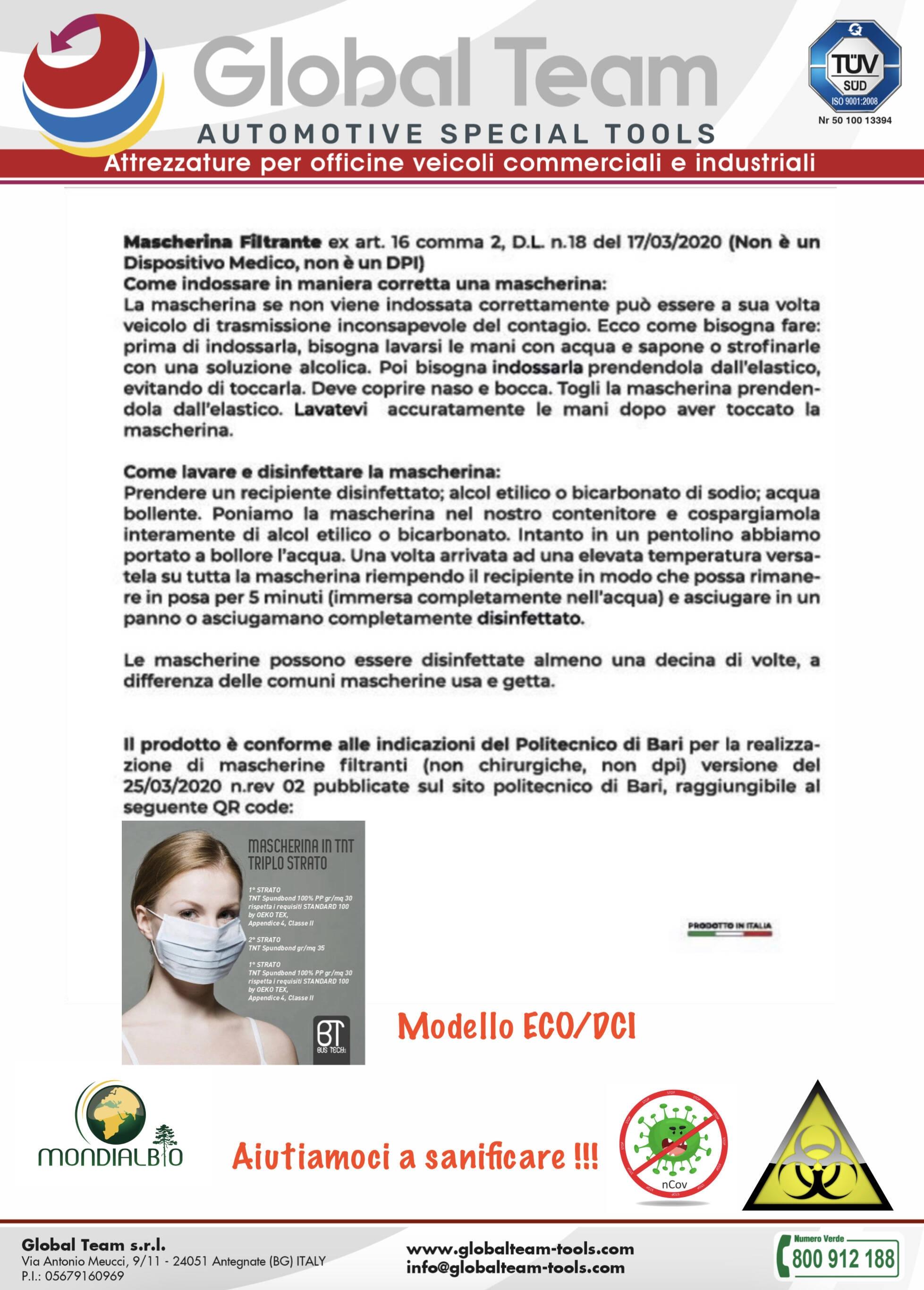 Mascherina protettiva certificata lavabile 5 volte modello ECO utilizzo in ambienti di lavoro
