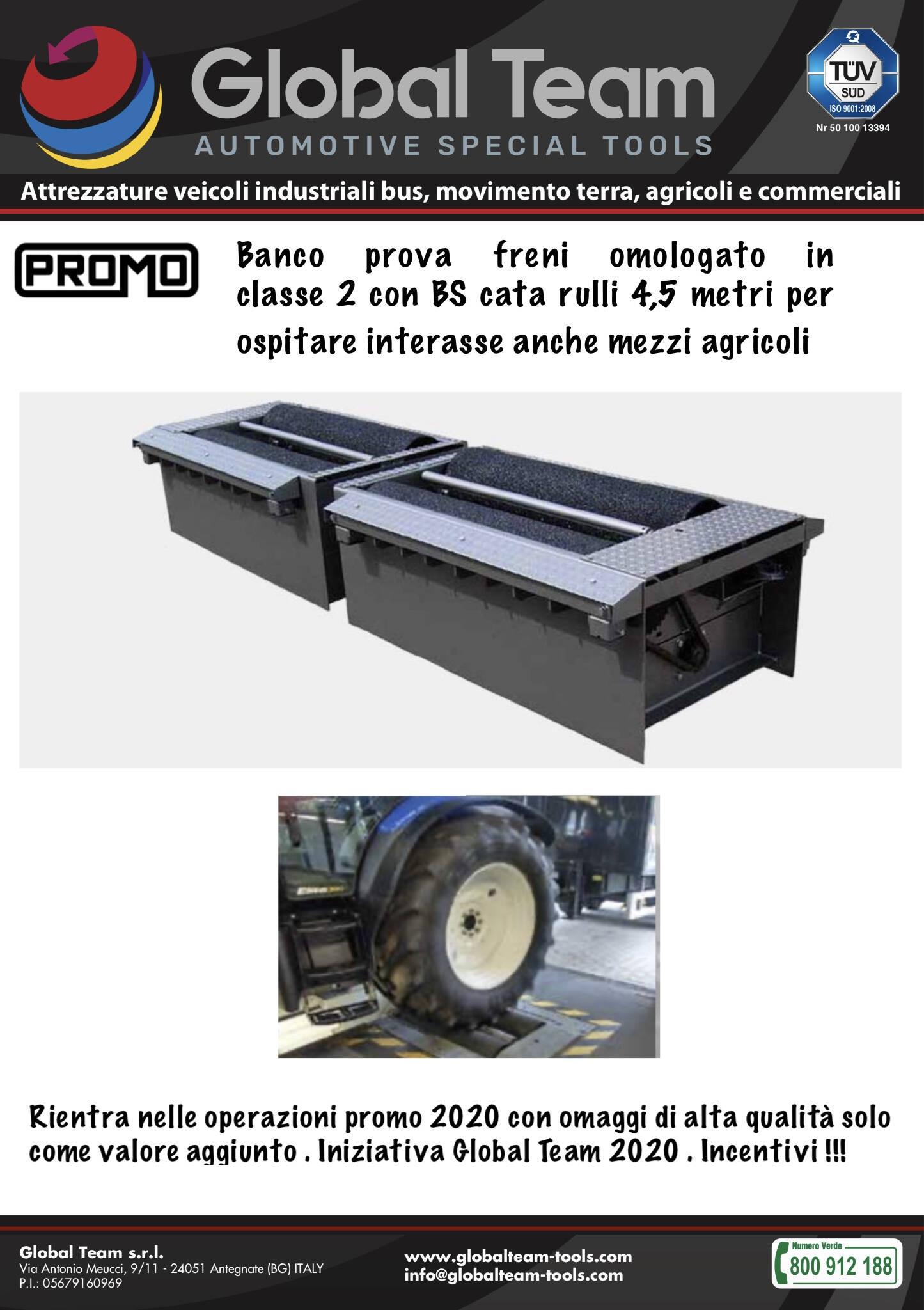 Promo bsnco freni omologato in classe 2 con la particolarità d'avere rulli extra lunghi 4,5 metri e poter ospitare anche mezzi agricoli . Universale