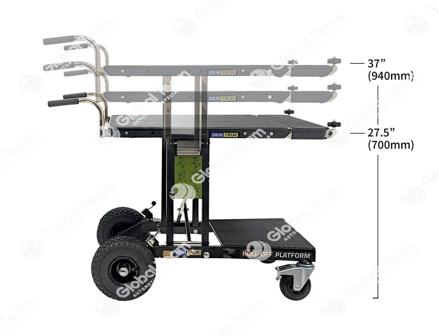 Tavolo a carrello a pianale rimovibile con ausilio di una sola persona per carico e scarico su furgone soccorsi parti meccaniche . Variabile in altezza solo senza carico . I due miste pianale 1: 660 mm x 1200 mm  2 : 660 mm x 850 mm