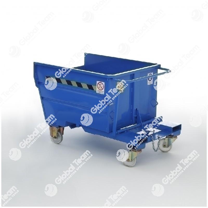 Contenitore ribaltabile per carrello elevatore - certificato a tenuta stagna - indicato per rottami ferrosi - 1600x1350x1195 mm