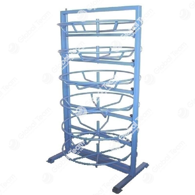 Stand porta bobine per il supporto e lo sbobinamento di 7 matasse di cavo o tubi idraulici