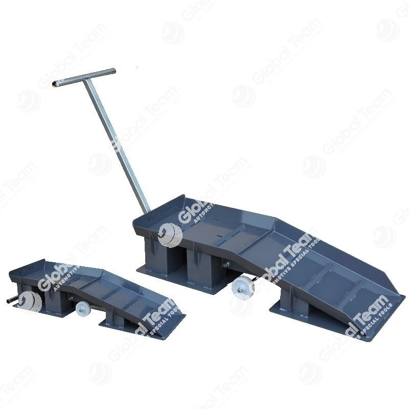 Coppia di rampe mobili per manutenzione veicoli industriali - 10+10 TON - altezza 400 mm - lunghezza 1800 mm