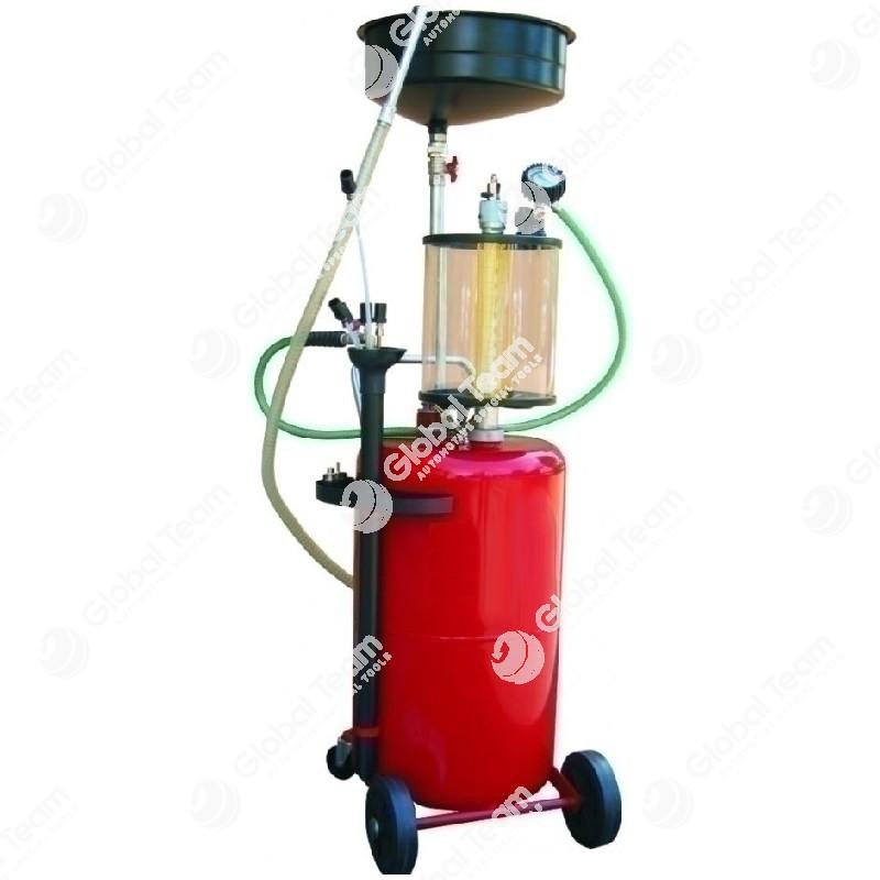 Serbatoio carrellato aspiratore e recuperatore olio esausto - 80 litri - con precamera trasparente - comprensivo di sonde di aspirazione