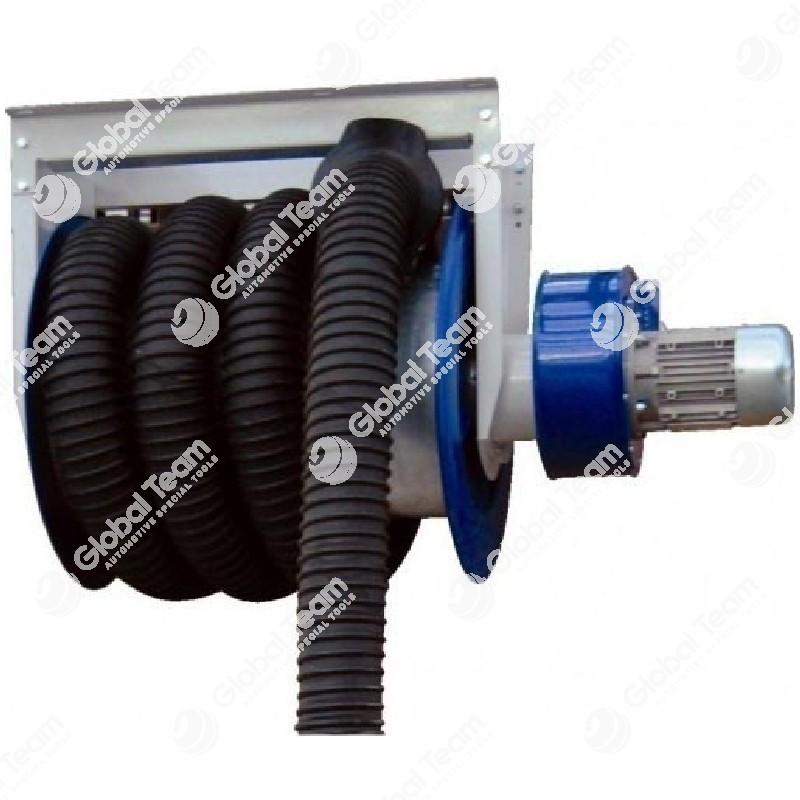 Arrotolatore completo di tubo diam. 125 mm lung. 13mt e bocchettone per veicoli industriali (con elettroaspiratore incorporato)