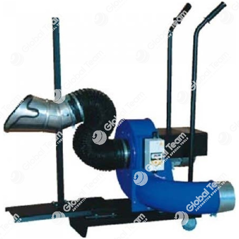 TROTTER - Elettroaspiratore mobile con bocchetta inox montata su asta regolabile per estrazione gas di scarico veicoli industriali comprensivo di 10mt tubo diam.150 mm