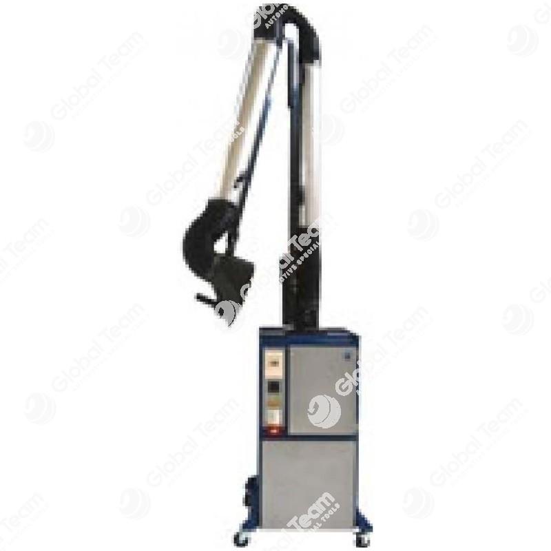 ECOMINOR - Unita' carrellata da 1,5CV per l'aspirazione e filtrazione di fumi saldatura, ecc... con braccio da 3mt autoportante, articolato, portata max 1400m3/h