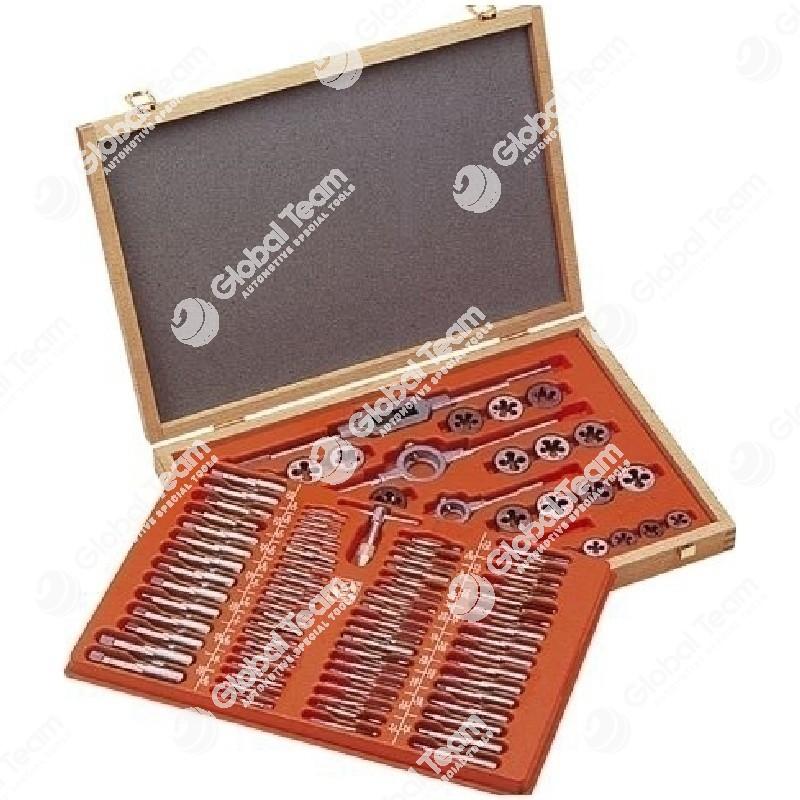Cassetta di filiere e maschi tipo FIAT 110 pz (in cassetto di legno) fino diam. 18 mm