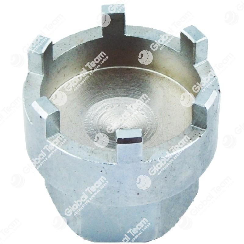 Chiave per ghiere scatola guida - n. denti esterni  6 - Misura tra denti 40,5mm - Esterno ghiera 49,5mm - Larghezza dente 6mm - Profondita' 19mm