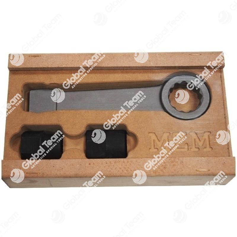 Kit in cassetta di legno composta da: - chiave a battere poligonale - n.02 bussole TORX femmina per sbloccare bulloni pinze freno MAN/MERCEDES