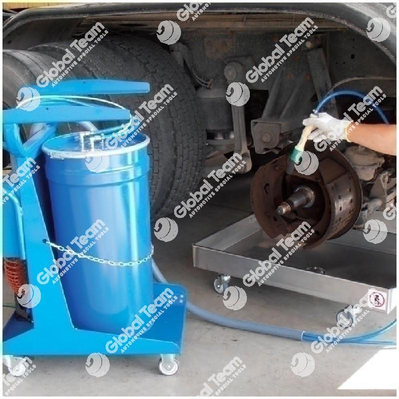 Vasca pneumatica carrellata per soffiaggio e lavaggio freni comprensiva di contenitore carrellato per recupero liquido esausto
