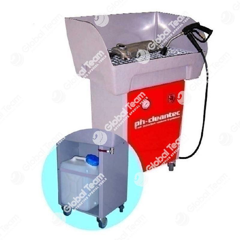 Vasca pneumatica a bassa pressione carrellata per soffiaggio e lavaggio freni comprensiva di contenitore carrellato per recupero liquido esausto