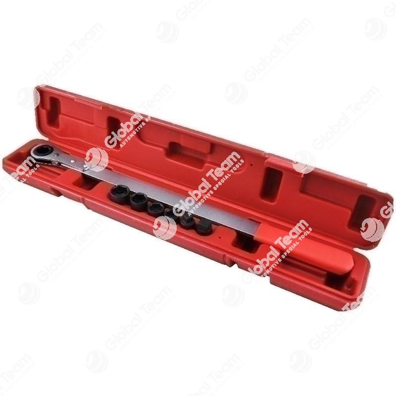 Chiave a cricco lunga in cassetta con bussole esagonali diam. 13 - 14 - 5/8 - 18. quadro 1/2''-quadro 3/8 (x tendicinghia motori)