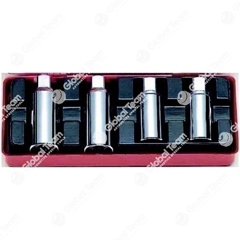 Serie estrattori prigionieri con cricchetto in cassetta. Misure 6-8-10-12mm - KOKEN