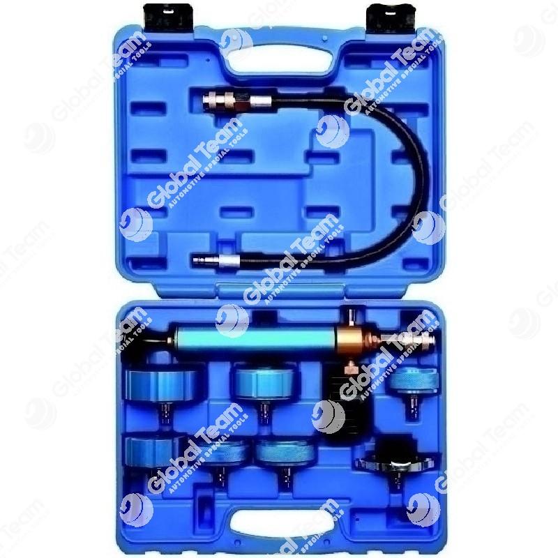 Kit in cassetta con pompa + tappi veicoli industriali per prova tenuta radiatori