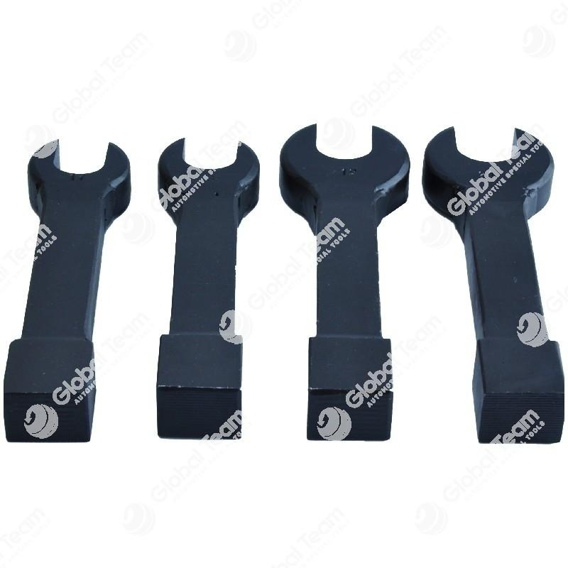 Set 4 chiavi a battere aperte - dritte - per dadi turbine - misure 17-18-19-21 mm
