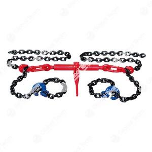 Catena di fissaggio per assi di camion . La catena tirante ad alta resistenza evita il carico a trazione non permesso durante il recupero nel collegamento tra asse e pacco di balestra. Utilizzo facile grazie al tenditore e ai tiranti di catena a due bracc