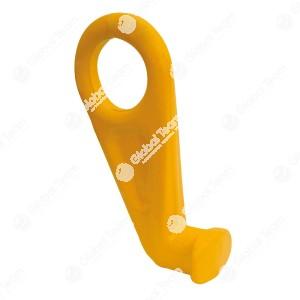 Gancio per contenitori . Con occhiello, per poter sollevare senza rischio in verticale i contenitori. Bloccato in posizione verticale.