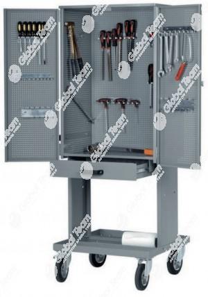 Carrello porta attrezzi in verticale ad ante richiudibili