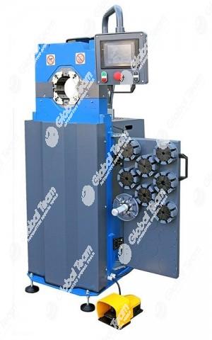 Dotata di una forza di pressatura di 150 ton, la pressa F140ED consente di raccordare ad alta velocità tubi flessibili fino a 1.1/2″R2.  Questa pressa è indicata per coloro che hanno necessità di un'alta produttività.