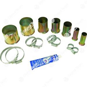 Kit riparazione del tubo di scarico . È stato sviluppato per la riparazione rapida del tubo di scarico difettoso o rotto di autovetture e furgoni. Pezzi di collegamento in acciaio, bordato su un lato solo, per riparazione dei tubi di scarico direttamente