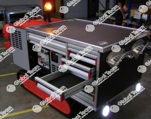Robot soccorso o lo aro esterno universale con mocogeneratorecompressore potente ed allestito a richiesta del cliente . Filo comando o comandi Bluetooth .