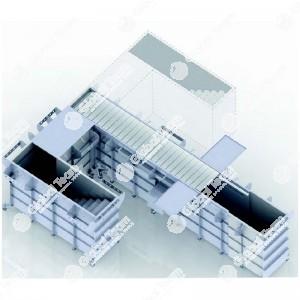 Fossa prefabbricata per revisioni 6,7 mt a normativa UNI 9721 - scala sinstra - autoportante 30 ton sull'asse - comprensiva di impianti luce, quadro elettrico, aria compressa ed aspirazione