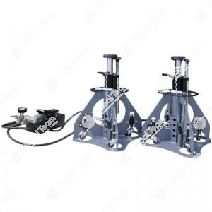 Coppia colonnette oleopneumatiche 15+15 ton comprensive di pompa da 500bar con doppio rubinetto (550 mm chiuso - 1100 mm aperto) - System Up