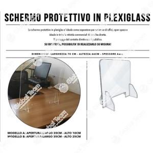 Schermo protettivo antivirale per scrivanie o settori lavorativi ravvicinati