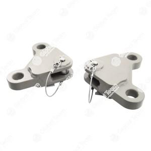 Piastra di collegamento . Le piastre di collegamento per sollevare mezzi pesanti. Portata fino a 19 t/paio. Versione compatta, semplice da sistemare, adatta anche per il recupero di vetture. Consegna in coppia incl. perno. Adatte per barre da traino stand