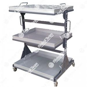 Carrello porta pezzi per assistenza smontaggio - con piani removibili zincati per lavaggio in vasca lavapezzi