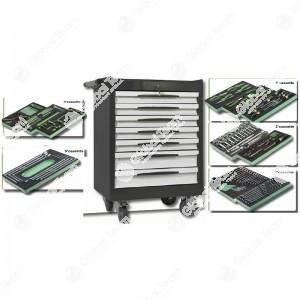 Carrello professionale 7 cassetti comprensivo di assortimento per officine veicoli industriali 161 pz