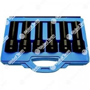 Cassetta con 6 bussole lunghe Torx femmina speciali per bulloni teste motori MERCEDES - MAN att. 3/4'' (Actros - TGA - F2000,ecc...)