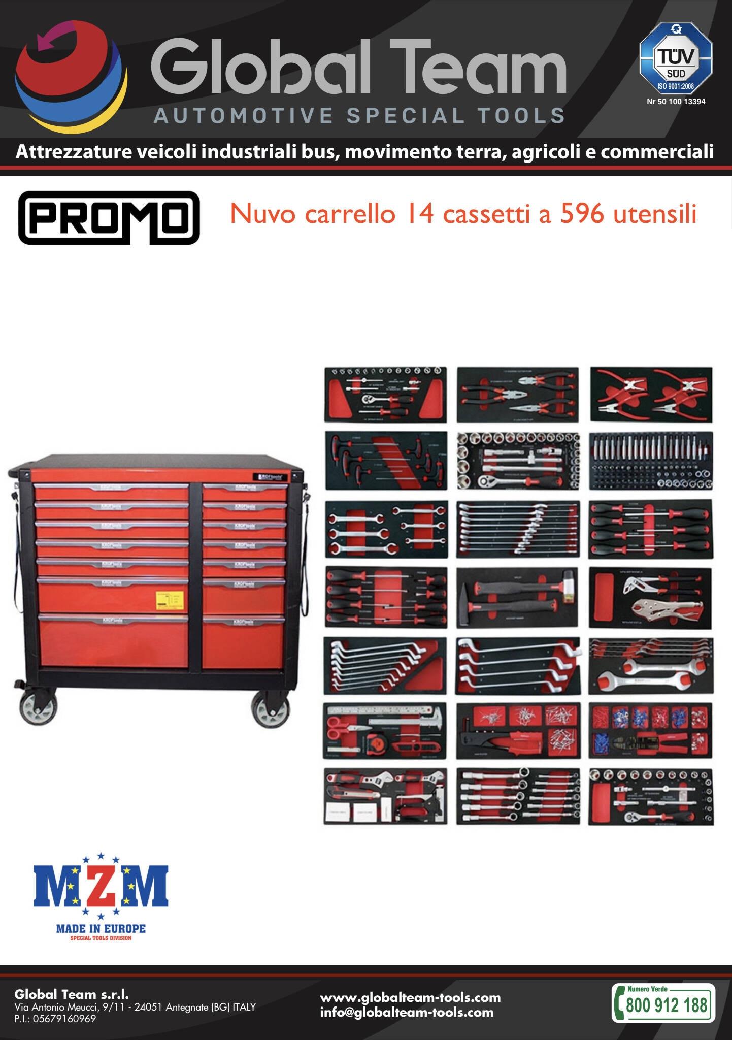 Nuovo carrello porta utensili robusto a 14 cassetti ad ottima qualita con 596 utensili in promozione lancio .