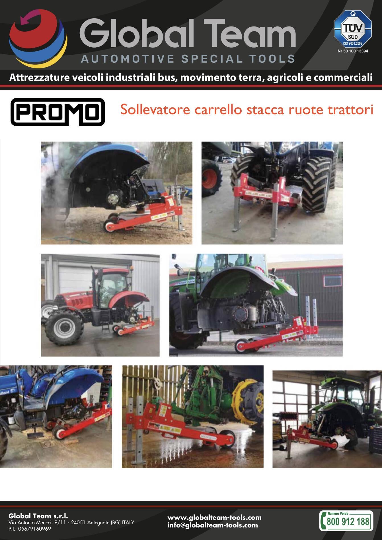 Promo lancio nuovo carrello sollevatore per spostamento trattori agricoli senza gomme montate