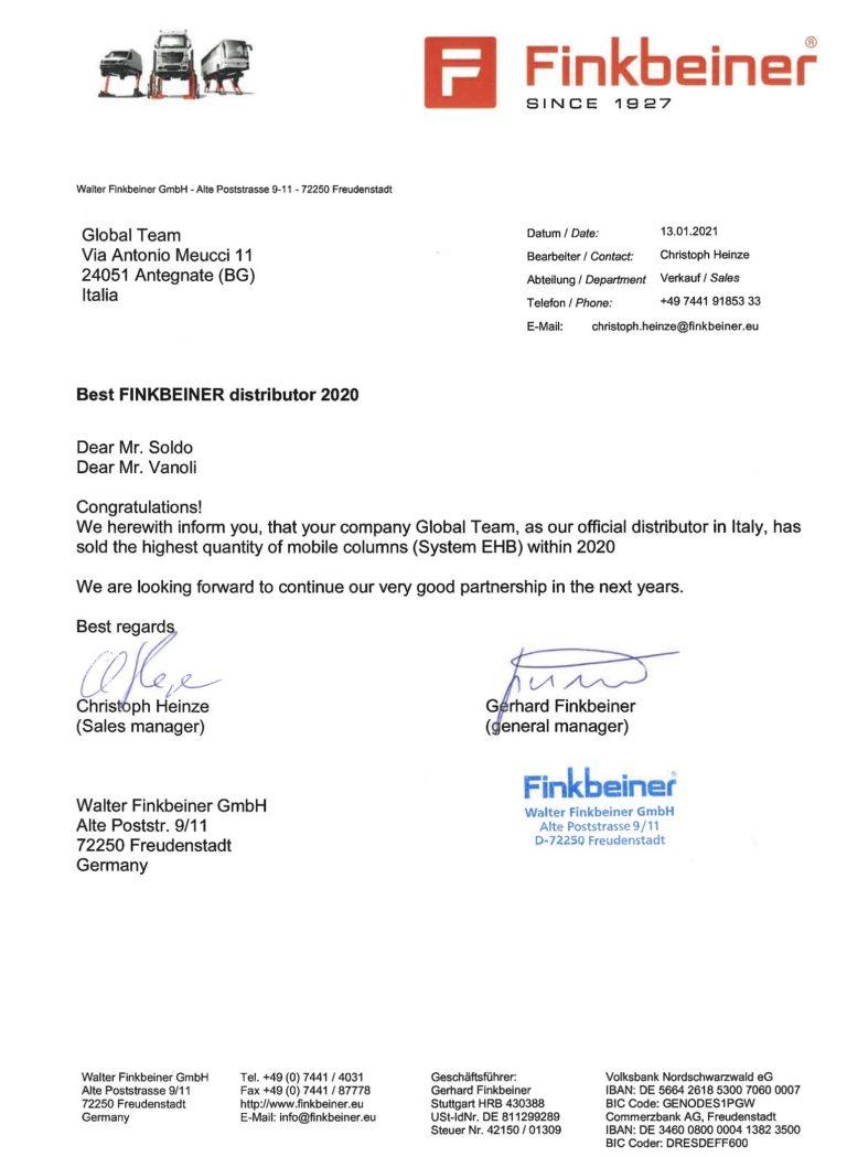 Riconoscimento Finkbeiner 2020